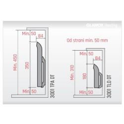 Električni panelni stenski radiator GLAMOX 3001 TLO 07 brez termostata